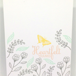 'Heartfelt Thanks' Floral Hand-made C6 Greeting Card