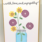 'With Love & Sympathy' Floral Vase Handmade D6 Greeting Card