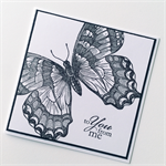 Monochrome black white to you from me blank butterfly monarch stamped card
