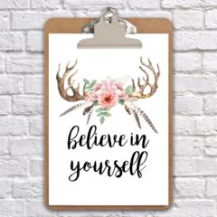 A4 clipboard believe in yourself inspirational clip board art wall decor