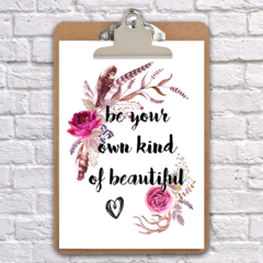 A4 clipboard be your own kind of beautiful inspirational art wall decor