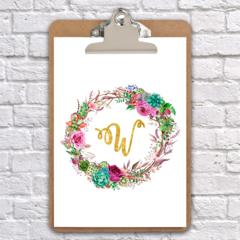 A4 clipboard Alphabet wreath watercolour art print nursery/wedding, wall decor