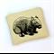 Screen printed wombat purse - cream