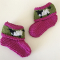 "Bright Pink ""Sheep""  Booties - Hand knitted in Pure Wool"