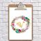 Alphabet wreath clipboard   watercolour art nursery/wedding, wall decor