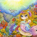 Mermaid fine art print, girls wall art, fantasy painting, 8.5.x 12 inch print