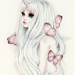 "Limited edition art print, unicorn girl ""La Bella Luna"""