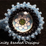 Statement Beaded Ring  Flower Glass Cabochon