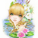 Water nymph fantasy girl, waterlily art, archival gicleé large fine art print.