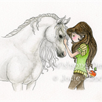 Best Friends horse and girl illustration, watercolour painting 5 x 7 inch print
