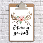 believe in yourself inspirational clip board art
