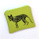 Screen printed Tasmanian tiger purse - lime green