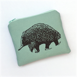Screen printed echidna purse - turquoise