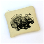 Screen printed wombat purse - cream
