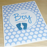 Baby Boy Card - little blue feet