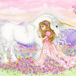 "Fantasy unicorn and princess painting ""The Princess and the Unicorn"" 5 x 7 inch"