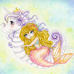 Seahorse unicorn and mermaid fine art print, 8.5 x 12 inch print, kids wall art