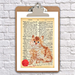 watercolour kitten on a clip board wall decor