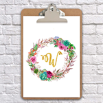 A4 clipboard Alphabet wreath watercolour art print nursery/wedding, wall decor