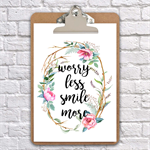 A4 clipboard worry less smile more inspirational quote on a clipboard wall decor