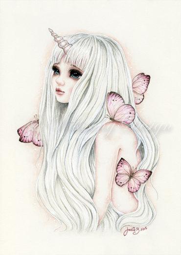 """Limited edition art print, unicorn girl """"La Bella Luna"""""""