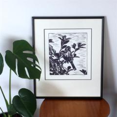 Original Unframed Linocut Artwork, New Holland Honey Eater.