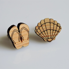 Thongs and Shell Wooden Earrings