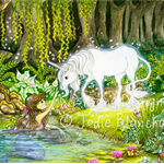 "Fantasy unicorn and mermaid painting ""An Enchanted Encounter"""