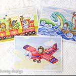 Boys greeting card set, train, plane and waterhorse boy, 5 x 7 inches.