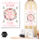 Personalised Mother's Day Wine Bottle Labels