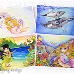 Ocean greeting card set, seahorse unicorn, mermaid, whales and hula girl set