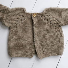 Gorgeous Hand Knitted Baby Cardigan in Natural Tan Brown Colour, fits 3-6 months