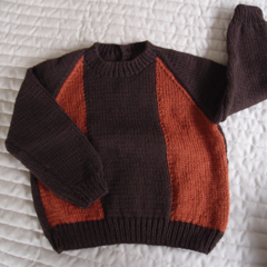 SIZE 3 : Hand knitted jumper : warm, washable, fashionable, boy