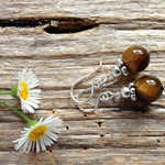 Tiger Eye Gemstone & Sterling Silver Earrings