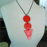 Red Geometric Pendant in 3 sections