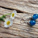 Blue Sapphire Gemstone & Sterling Silver Earrings