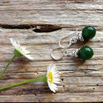 Natural Emerald Gemstone & Sterling Silver Earrings
