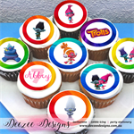 "Trolls Personalised Edible Icing Cupcake Toppers - 2"" - PRE-CUT - Sheet of 15"