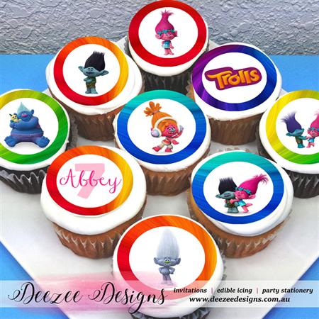 "Trolls Personalised Edible Icing Cupcake Toppers - 2"" - PRE-CUT - Sheet of 15"