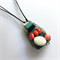 Ceramic, semi precious stone and coral wire wrapped pendant