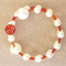 White and Red Memory Wire Stainless Steel Bracelet