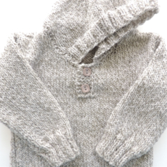 Hooded baby jumper. Knitted baby boys jumper. Baby knits