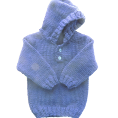 hooded baby jumper. knitted baby clothing. Hooded baby jacket Unisex baby. Blue