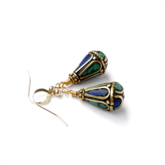 Turquoise and Lapis Lazuli Nepal Gemstone Earrings