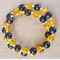 Mustard yellow and Black Memory Wire Stainless Steel Bracelet