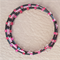 Fuchsia and Black Memory Wire Stainless Steel Bracelet