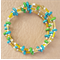 Memory Wire Stainless Steel Bracelet - Green and Turquoise Wooden Beads