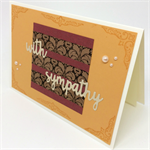 Sympathy Card - Ochre with Dark Cherry, Bronze Washi