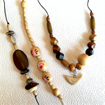 Make it yourself necklace gift kit-wooden beads with cream ceramic little bird