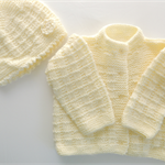 Baby jacket and hat. knitted baby clothing. lemon. Babies. Baby shower.